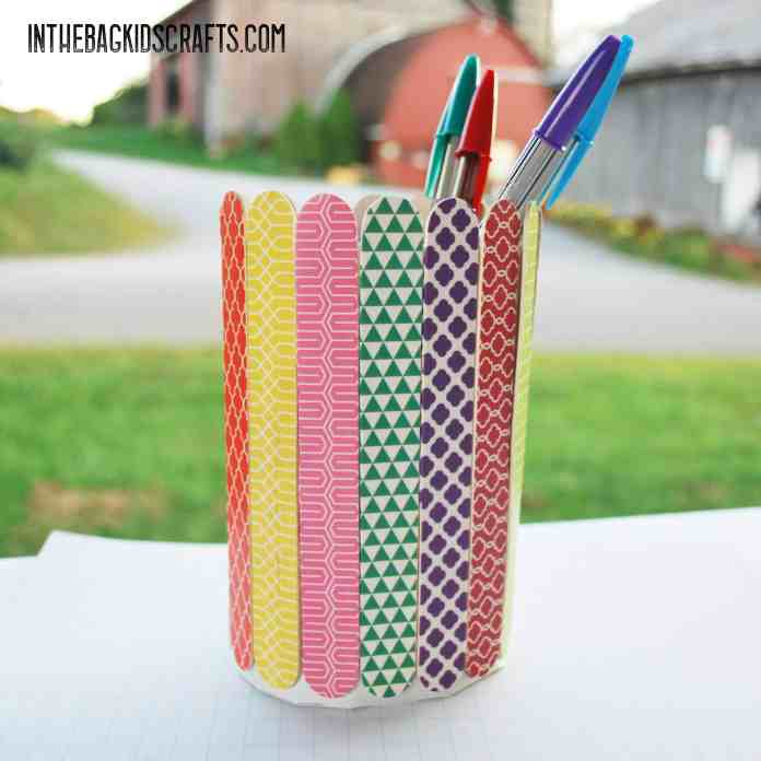popsicle stick kids craft pencil holder