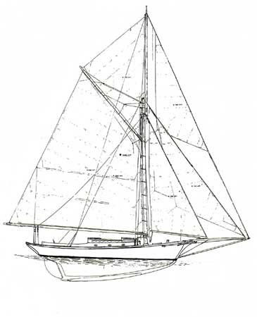 Friendship sloop Black Star sail plan