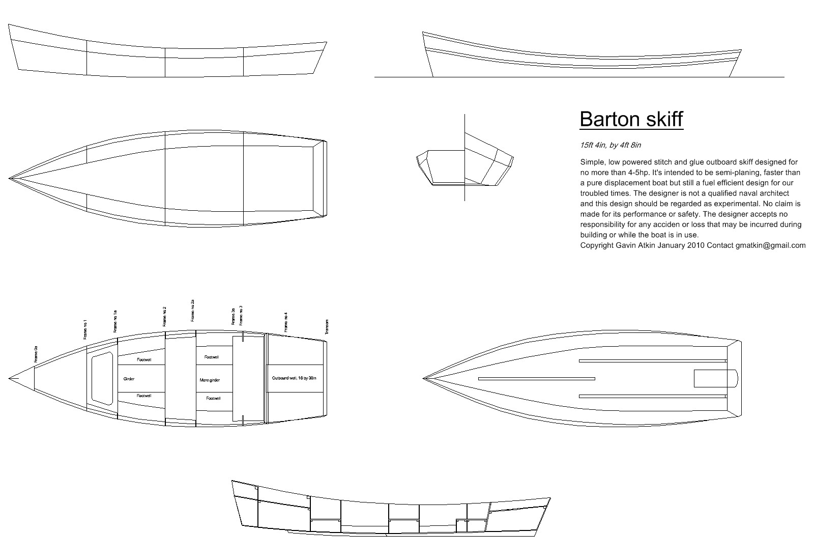 At Last Construction Drawings For The Barton Skiff