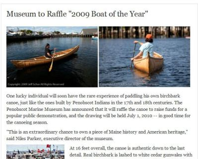 Win, birchbark canoe, Penobscot Indian, canoe, raffle