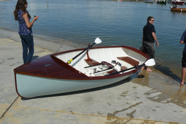 Boat Building Academy students launch a 14ft rowing skiff with wooden fit-out | intheboatshed.net