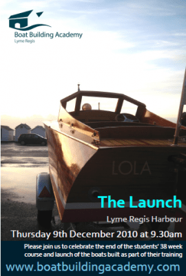 Boat Building Academy student launch day invitation