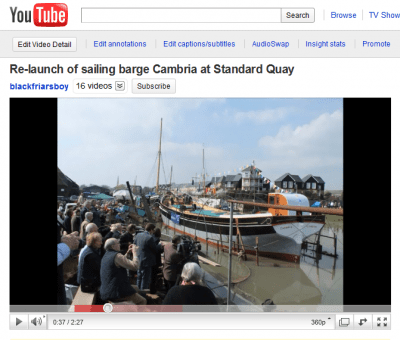 Relaunch of sailing barge Cambria at Standard Quay