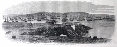 Chincha Guano Islands, Peru, engraving published by The Illustrated London News February, 21st, 1863, photographed by Manuel González Olaechea y Franco