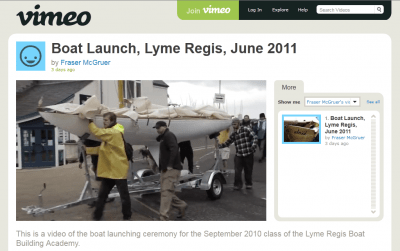 Lyme Regis Boat Building Academy boat launch 2011