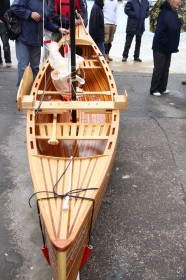 Strip-built canoe under inspection at the harbour. Photograph by BBA student and photographer Derek Thompson LRPS