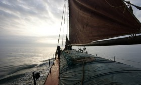 A misty sea as Humber super sloop Spider T leaves Hartlepool on Wed aug 1, 2011