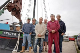 The crew of the  Humber sloop Spider T setting off for Arbroath on July 30 2011 from left Mick Maith, Paul Coultard, Bill White,John Barwell Mal Nicholson chris Horan. Photo Heather Horan.