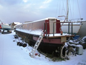 Charles Hussey narrow boat in snow