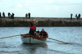 David Campbell (waving) in his Caledonian Yawl at the BBA student launch 7th December