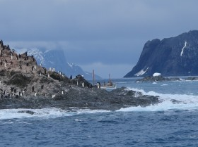 Alexandra Shackleton rounds the rocks near Point Wild, Elephant Island (not King George Island).  Image Jo Stewart