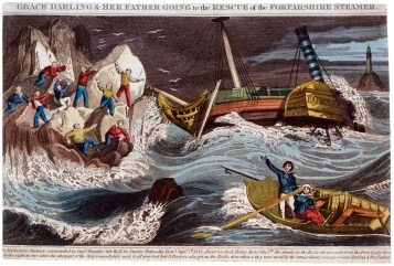PAD6690 Print of Grace Darling and her father going to the rescue -® National Maritime Museum