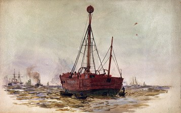 PAE1973 Watercolour sketch of the Nore light-vessel, by William Lionel Wyllie -® National Maritime Museum