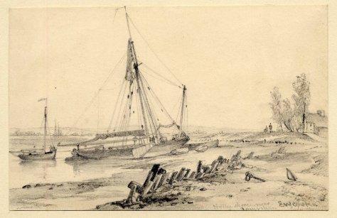 Holly Shore Boats on Shore BM E W Cooke 1832