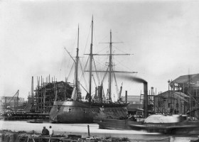31st July 1863: An iron-cased Russian battery ship in dock. (Photo by Hulton Archive/Getty Images)