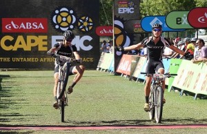 All South African team of Philip Buys and Matthys Beukes of Scott Factory Racing finish stage 5 to claim the Absa African Jersey during stage 5 of the 2013 Absa Cape Epic Mountain Bike stage race held from Wellington, South Africa on March 22, 2013. Photo: Shaun Roy / Cape Epic / SPORTZPICS