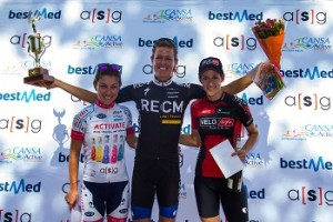 An-Li Kachelhoffer (Esmero-Activate Drinks), Ariane Kleinhans (RE:CM) and Lise Olivier (VeloLife) were the podium finishers in the four-day Bestmed Tour de Boland, presented by ASG, that finished on Friday. Photo: Capcha