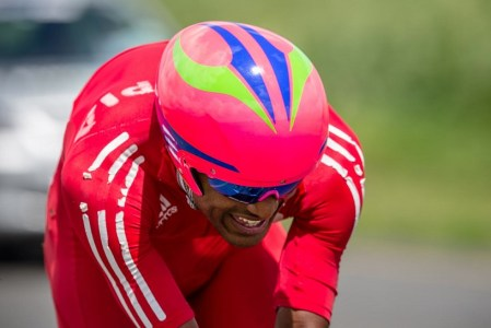 It was a historic day for Ethiopian cycling as Tsgabu Grmay became the first man to win an Elite Men's gold medal as he powered to victory in the Individual Time Trial on day three of the 2015 Confederation of African Cycling African Road Championships on Wednesday. © craigdutton.com