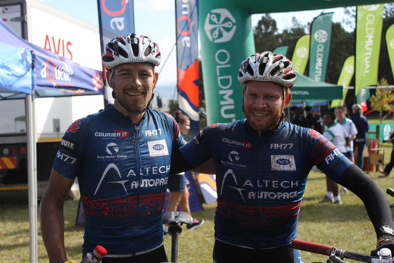 Pieter Seyffert (left) and Hanco Kachelhoffer of Altech Autopage Karan Beef won stage seven of the 2015 Old Mutual joBerg2c at MacKenzie Club, Ixopo, today. Photo: Full Stop Communications
