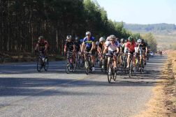 South African road champion in his age group Mark Spencer (striped jersey, centre) en route to winning the Bestmed Jock Classique in Mpumalanga on Saturday. Photo: Hendrik Wagener