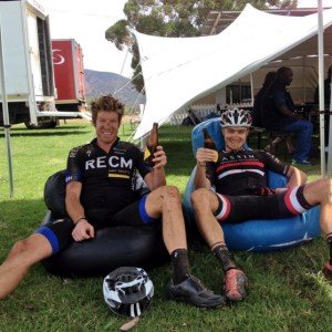 Erik Kleinhans and Chris Wolhuter won stage five of the 2015 Cape Pioneer Trek, which took place from the Zwartberg High School in Prince Albert to Calitzdorp High School today. Photo: Supplied
