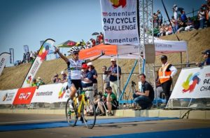 Ashleigh Moolman-Pasio was the first lady to cross the line at the 947 Cycle Challenge.