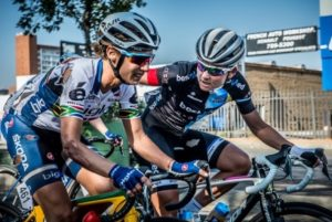 Multiple National Champion and women's cycling stalwart, Anriette Schoeman (BestMed ASG Women's Team) rides alongside race winner Ashleigh Moolman-Pasio (Bigla Pro Cycling Team) in a show of support for her compatriot after her high speed crash in the Momentum 947 Cycle Challenge UCI 1.1 women's race in Gauteng earlier today.