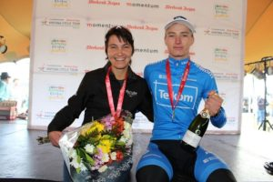 Elite winners Yolande de Villiers and HB Kruger after the 80km Knysna Cycle Tour MTB Race. Photo: supplied