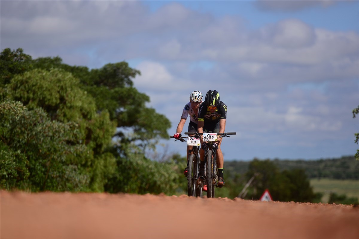 Philip Buys (front) and Nico Bell en route at the final round of the Gauteng Trailseeker Series near Pretoria on Saturday. Photo: Zoon Cronje