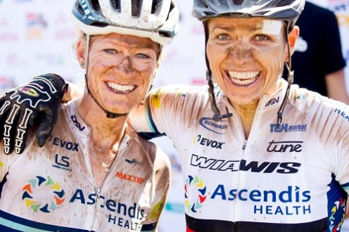Sabine Spitz and Robyn de Groot of team Ascendis Health win stage three of the 2017 Cape Epic. Photo: Greg Beadle/Cape Epic/SPORTZPICS