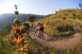 Riders taking a corner on day two of sani2c Trail. Photo: Kevin Sawyer