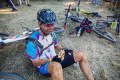 A rider recovers after day two of sani2c Trail. Photo: Kevin Sawyer
