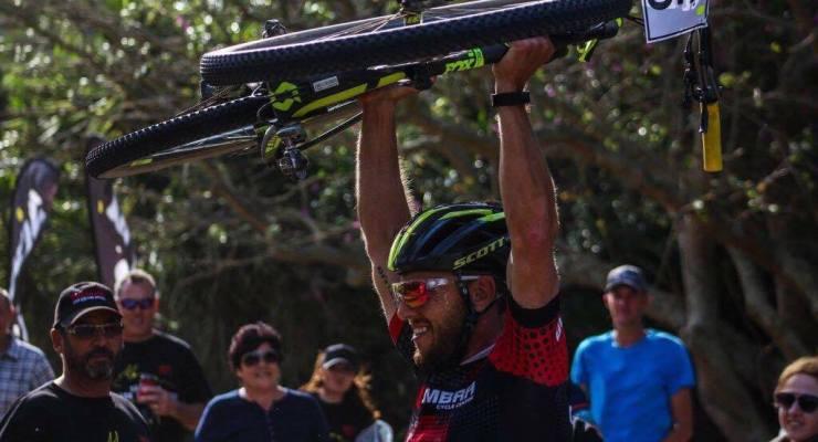 Steven Shirley celebrates after winning the Trans Elands MTB Marathon