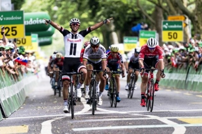 Michael Matthews from Team Sunweb was first across the finish line of stage three