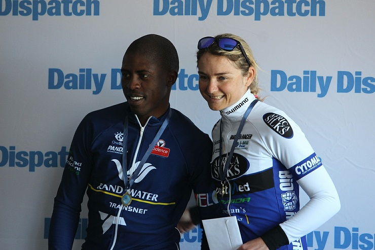 Thulasizwe Mxenge and Anriette Schoeman won the men's and women's race at the Daily Dispatch Cycle Tour in East London today.