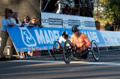 Tim de Vries claimed his first career world championship medal when he finished first in the H5 handcycling race at the Para-cycling Road World Championship in Pietermaritzburg. Photo: Andrew McFadden