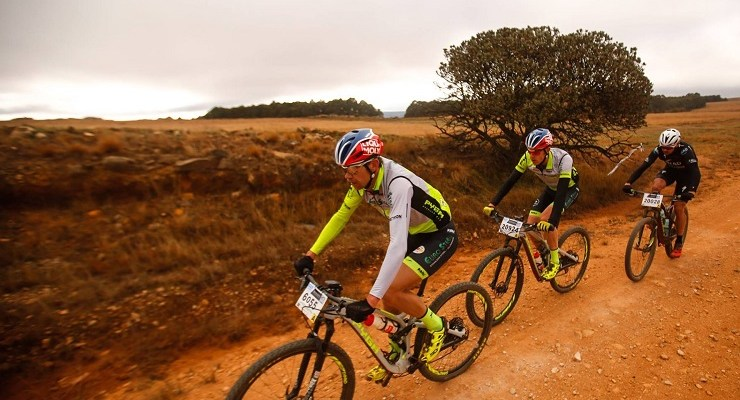 Team Pyga-Euro Steel's Philip Buys (front) and Matthys Beukes with NAD Pro's Nico Bell in action during the second day of the sixth round of the National MTB Series in Dullstroom, Mpumalanga, today.