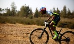 Phillimon Sebona tackling a small climb during the Trailseeker Series Gauteng #4 Hazeldean.