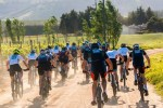 Teams in action soon after the start of day one of the Varsity MTB Challenge just outside of Paarl.