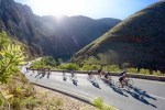 An image of cyclists passing through a beautiful scenic part of the Double Century route.