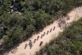An aerial view of riders along the Trailseeker Diamond Rush route.