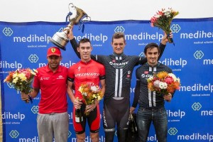 The top men finishers at the Stellenbosch Cycle Tour from left to right is Shameeg Salie (fourth), Craig Boyes (second), Rohan du Plooy (first) and Chris Cronje (fifth).