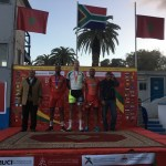 Jean Spies (middle) pictured with a gold medal at the African Continental Championships last week. Photo: Supplied