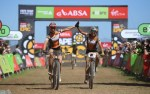 Investec-Songo-Specialized's Annika Langvad and Kate Courtney pictured soloing to victory on stage two of the Cape Epic today. Photo: Zoon Cronje