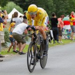Team Sky's Bradley Wiggins in action during the 2012 Tour de France. Photo: William Morice (licensed)