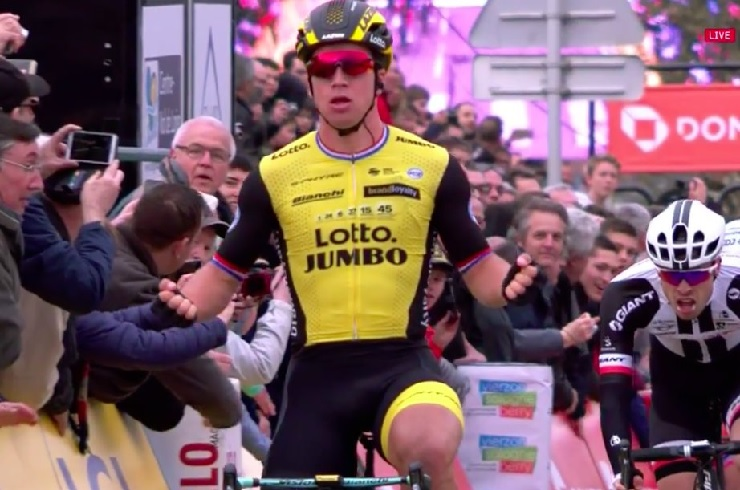 Dylan Groenewegen pictured winning stage two of the Paris-Nice in Vierzon today. Photo: @LottoJumbo_road
