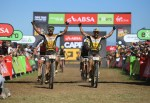 Cannondale Factory Racing's Manuel Fumic and Henrique Avancini pictured winning stage two of the Cape Epic today. Photo: Zoon Cronje