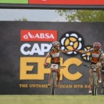 Investec-Songo-Specialized's Annika Langvad and Kate Courtney pictured fist pumping each other while winning stage six of the Cape Epic today. Photo: Zoon Cronje/Cape Epic