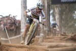 World champion Nino Schurter pictured taking on the 'pick-up-sticks' in the elite men's race at the UCI Mountain Bike World Cup in Stellenbosch. Photo: Shannon Valstar