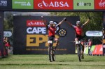 Centurion Vaude's Nicola Rohrbach and Daniel Geismayr pictured winning stage four of the Cape Epic in Wellington today. Photo: Zoon Cronje/Cape Epic